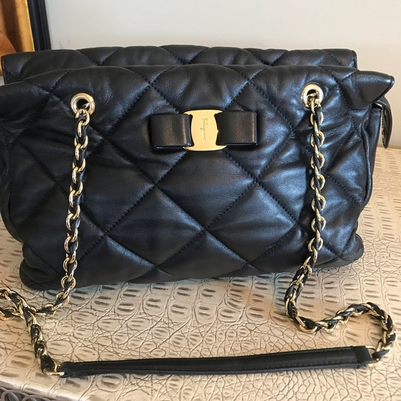 465a0e254f Ferragamo Handbags - SALVATORE FERRAGAMO Quilted Nappa Leather Vara Bag